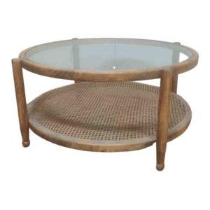 שולחן סלון עגול עם מדף גוף אלון - תמונה ראשית