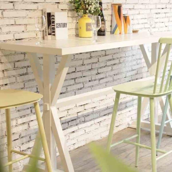 שולחן בר רגל איקס Offwhite