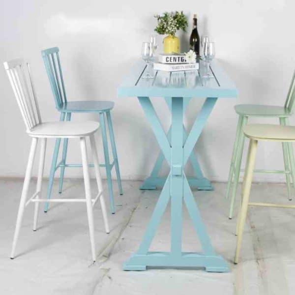 שולחן בר רגל איקס כחול