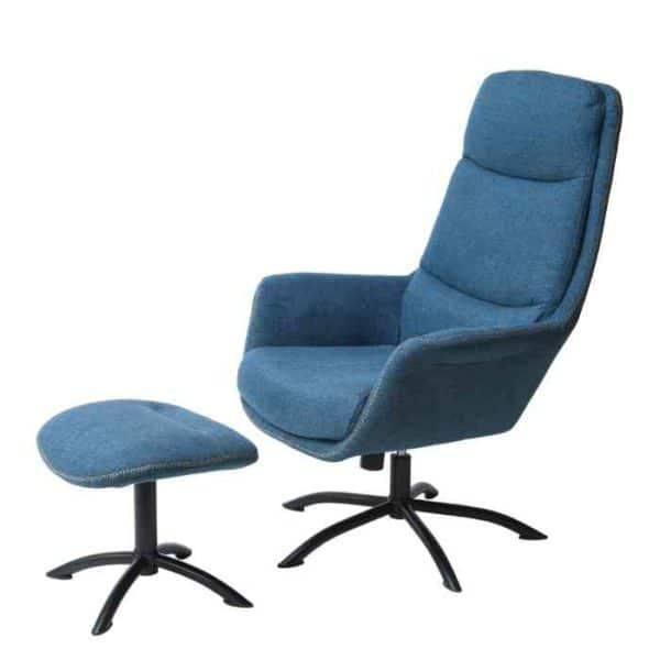 כורסא + הדום דגם KELLY גוון כחול - תמונה ראשית