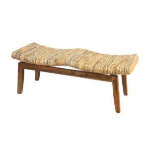 ספסל עץ בציפוי ראטן בננה