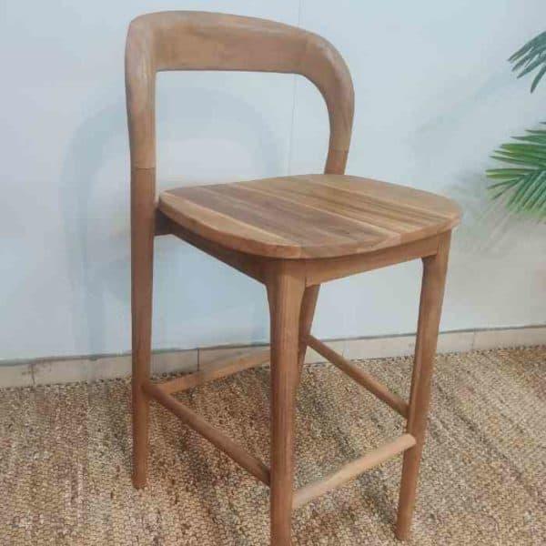 כסא בר מעץ טיק מלא