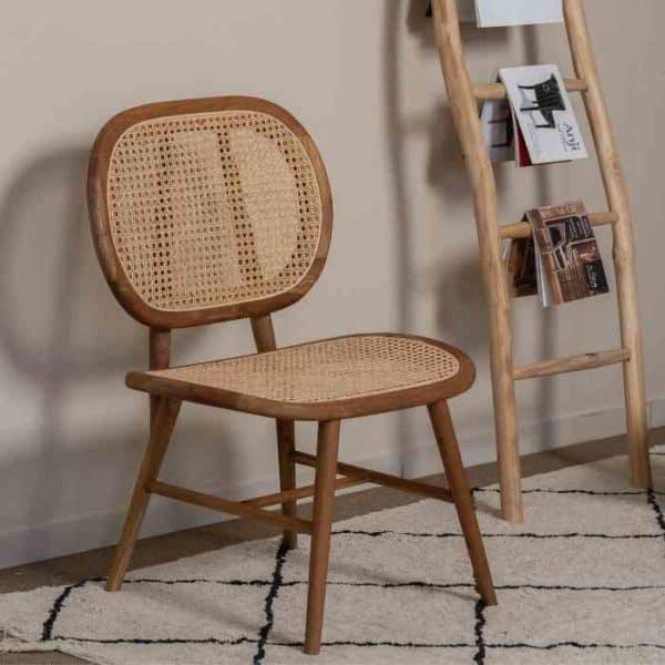 כסא משולב עץ טיק וראטן