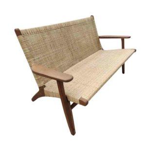 JEPARA ספה זוגית מעץ טיק משולב ראטן