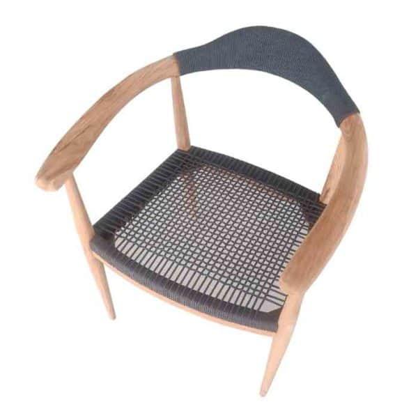 כסא טיק מושב רשת קלועה