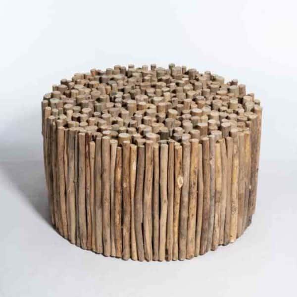 שולחן סלון עגול מענפים ממוחזרים