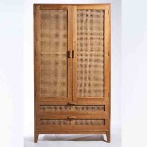 BOHO ארון בגדים מעץ מלא בשילוב דלתות ראטן