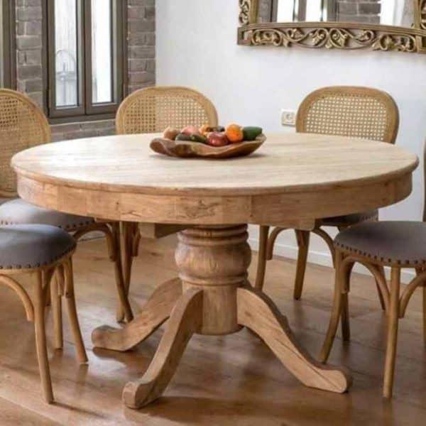 SABRINA שולחן אוכל עגול מעץ מלא