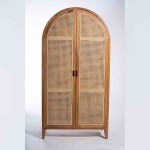 BOHO ארון עץ טבעי בשילוב דלתות ראטן